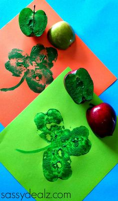 Easy St. Patrick's Day Crafts For Kids - Sassy Dealz - apples or bell peppers
