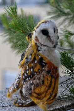 Needle Felted Owl- OOAK Collectible artist wool soft sculpture by Daria Lvovsky