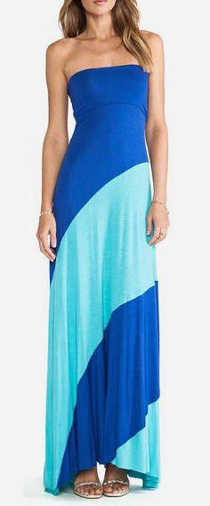 Karina Grimaldi Strapless Bias Maxi Dress in Aqua Combo
