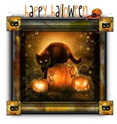 """Happy Halloween!"" by petalp ❤ liked on Polyvore featuring art and cat"