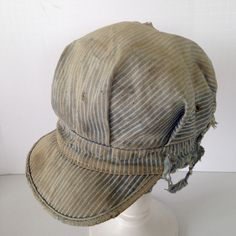 True #Vintage Engineer Cap Striped Denim Beat to Heck Work Wear Farmer   #Cap #shabby