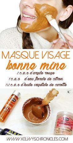 DIY | MASQUE VISAGE BONNE MINE ET ÉCLAT   -> masque visage maison, masque visage bonne mine, teint parfait sans maquillage, diy soin visage,  argile rouge visage, huile végétale de carotte, eau florale de citron, teint bronzé naturellement, préparer sa peau au soleil, astuce naturelle, teint pâle visage, recette soin visage  #beauté #astucebeauté #astucedefille #beauténaturelle #greenbeauty Face Care, Body Care, Diy Beauty, Beauty Hacks, Homemade Face Masks, Anti Aging Skin Care, Natural Hair Styles, Face Beauty, Face Peel Mask