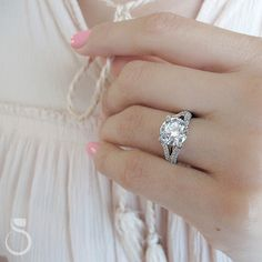 Here's a stunning split-shank engagement ring from Sylvie! (Style no. Split Shank Engagement Rings, Beautiful Engagement Rings, Band Engagement Ring, Designer Engagement Rings, Engagement Ideas, Cute Rings, One Ring, Dream Ring, I Love Jewelry