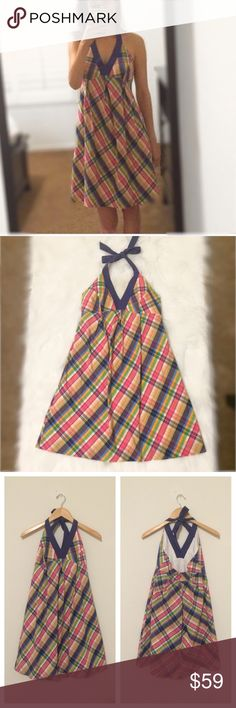 """LILLY PULITZER Plaid Halter Dress size 2 Adorable in excellent used condition LILLY PULITZER Plaid Halter Dress size 2. 100%cotton, lined, back zipper. Bust: 16"""", empire waist:15"""" lengthfrom shoulder (approx) 36"""". bundle and save more Lilly Pulitzer Dresses Midi"""
