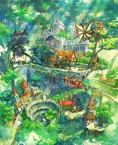 The amazing digital art of Kaitan Fantasy City, Fantasy Kunst, Fantasy Places, Fantasy World, Fantasy Art Landscapes, Fantasy Landscape, Fantasy Artwork, Landscape Art, Art And Illustration