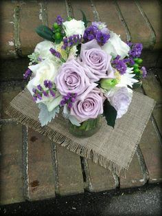 Lavender and white rose bouquet