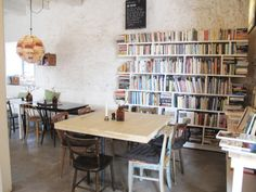 Leva Kungslador: oh, oh, the books! Simple, rustic, bookish-just the way I like my future cafe to be.