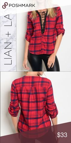 """Red Plaid Lace Up Top This stunning red plaid top with lace up V-neck puts a twist on the classic plaid shirt. It feels so soft on! 3/4 roll-up sleeves. Made in USA. 80% Cotton 20% Polyester. Small L: 24"""" B: 32"""" Medium: L: 25"""" B: 36"""" Large: L: 26"""" B: 40"""" Tops"""