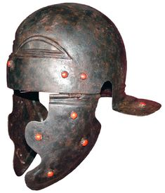 """Roman helmet, sub-type Weisenau/Guttmann (classification by Marcus Junkelmann), completely preserved iron bowl with both cheek pieces and decorative red enamel studs. Early example of this helmet type attributed to the Augustan/Tiberian period. A-typical """"eyebrows"""" with distinct """"celtic"""" features, previously encountered only in few finds such as a brass helmet in the former Guttmann collection with """"hanging eyebrows"""" and a brass helmet in the collection of the Archaeological Museum…"""