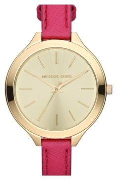 Michael Kors Mid-Size Pink Leather Runway Three-Hand Watch -- I wanted the cream colored band. Michael Kors Outlet, Handbags Michael Kors, Michael Kors Watch, Girls Accessories, Fashion Accessories, Fashion Jewelry, Fashion Earrings, Jewelry Accessories, Mk Watch