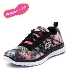 Skechers Flex Appeal Floral Black/Mint Women Shoes Sneakers Comfort Sneakers