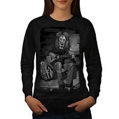 Lion Guitare Joueur Jouer La Femme NOUVEAU Noir M Sweat-Shirt | Wellcoda: Cet article Lion Guitare Joueur Jouer La Femme NOUVEAU Noir M…