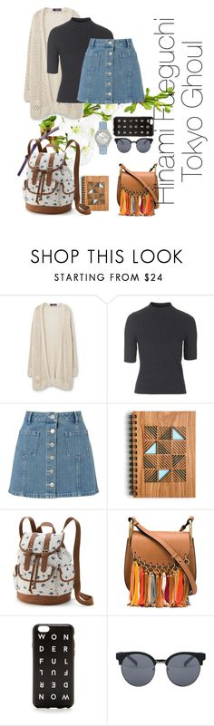 """""""Hinami Fueguchi - Tokyo Ghoul"""" by nmiller526 ❤ liked on Polyvore featuring Violeta by Mango, Topshop, Miss Selfridge, Candie's, Chloé, J.Crew, Quay and GUESS"""