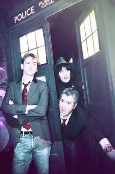 Noel Fielding and Phil Jupitus inside the TARDIS