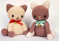 Large Pink Amigurumi Crochet Cat / Kitten. Hand made by kinderkraft.