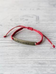 Believe bracelet Red bracelet Affirmation jewelry Yoga bracelet Kabbalah bracelet Lucky bracelet Protection bracelet Macrame bracelet by ElvishThings on Etsy