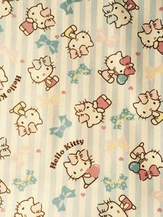 Hello kitty with stripe design fabric One yard by HanamiBoutique