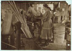 A Basket Factory, Evansville, Ind. Girls Making Melon Baskets. 1908.