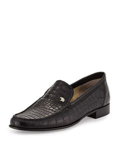 Crocodile Leather Loafer, Black by Stefano Ricci at Neiman Marcus.