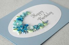 Handmade birthday card, quilled, paper quilling flowers. via Etsy.