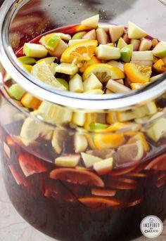 Simple Sangria.   Wine Blackberry Brandy Triple Sec Orange Juice Simple Syrup Fruit: apples, oranges, lemons, limes, blackberries & cranberries