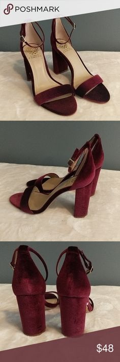 Vince Camuto velvety wine colored block heel. Vince Camuto beautiful wine colored sandal with high block heel.  Ankle strap. Velvety fabric. New. Never worn. Vince Camuto Shoes Heels