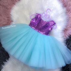 Ariel dress/ little mermaid dress birthday outfit/ Baby Girl Dresses Diy, Cute Flower Girl Dresses, Little Girl Outfits, Mermaid Birthday Outfit, 1st Birthday Outfits, Birthday Dresses, Disney Outfit, Elsa Outfit, Mermaid Dress For Kids
