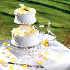 Tiered Poppy Seed Wedding Cake ~  If you're planning a small wedding or an at-home reception, stack two layers to serve 25 guests. Stylist Cari South incorporated an upside-down candy dish as the support between the layers. You can use an heirloom from your family or purchase a new one as a keepsake.
