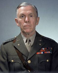 George C. Marshall (1880 - 1959) US five-star general and later Secretary of State, he was Army Chief of Staff during World War II and was heavily responsible for the successful outcome of the war, during his tenure as Secretary of State he was responsible for the implementation of the Marshall Plan that aided Europe's recovery after the war