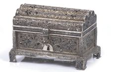 17th/ 18th Century South German Silver Filigree Christie's Amsterdam 20 Dec 2007 -  Workmanship bears comparison with other work from Schwabisch Gmund or Augsburg. Height: 11.5cm, width: 15.3cm, depth: 10.7cm