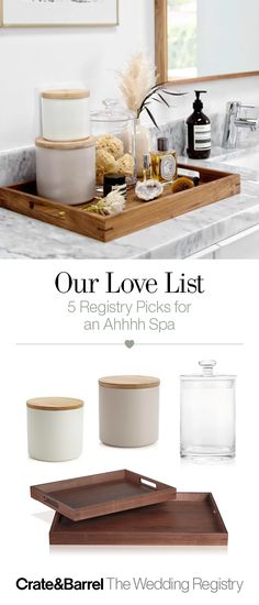 Keep your bathroom organized with jars and storage canisters that keep the clutter at bay. Plus, a tray to keep it all together is never a bad idea.