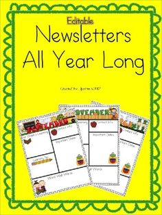 Newsletters are a fantastic way to keep your parents informed on a weekly or monthly basis. This set includes easy to use newsletters that have bri...