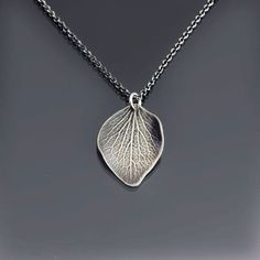 Sterling Silver Hydrangea Petal Necklace - Imprinted Flower Pendant - Nature Jewelry