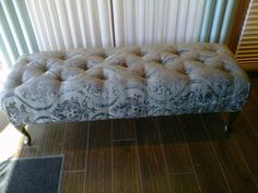 Custom Fabric Bench by Sheila's on Crowfoot.  Interior Design Services for all your home decorating needs.