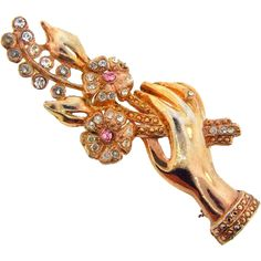 Vintage 1940's Gold Wash Figural Brooch of a Hand Holding a Spray of Flowers.