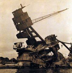 80-CF-1061-2: Wreckage of USS Arizona (BB 39) following the attack at Pearl Harbor, Hawaii, 7 December 1941. (9/16/2014).