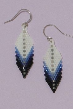 """Feather Earrings"" made from Brick stitch. These are 1 3/4"" in length, including the sterling ear-wires. Credit for the pattern goes to Veon Schunzel."