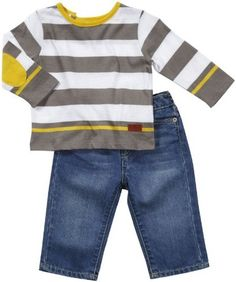 A gray and yellow striped long sleeve t-shirt and a pair of comfy jeans make a great baby boys set by 7 for all mankind jeans. Your son will look casual and cool for the family reunion!