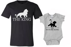 Set of 2 King Shirts, Dad and Son shirts, daddy shirt and baby onesies Shirts, lion king shirts, funny tshirts, family shirts, baby onesies, gift for him, gift for her, Disney t shirt, the lion king, Simba shirts, the king shirts by MOTIFIT Comes with 2 Shirts one for Dad and one for child.