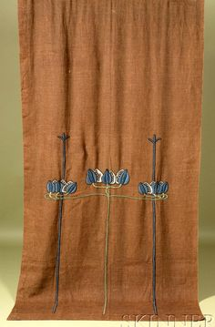 Pair of Arts & Crafts Needlework Burlap Panels, early 20th century, each depicting scrolling foliage in tones of blue and green, on a brown burlap ground, ht. 94, wd. 47 in.