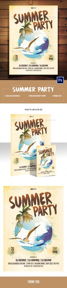 Summer Party Flyer Template PSD. Download here: https://graphicriver.net/item/summer-party-flyer/17115815?ref=ksioks