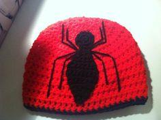 Crocheted SpiderMan Beanie by CozyCraftsbyAnna on Etsy, $28.00