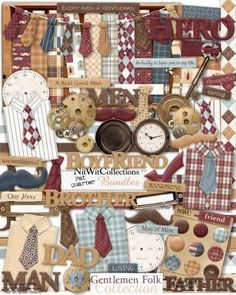 A digital scrapbooking vintage man kit and card making vintage man kit. Shirts, ties, pocket watch and more will give you lots of creative ways to use this male themed digital kit. FQB - Gentlemen Folk Collection from Nitwit Collections™