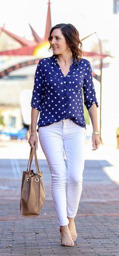 Blue & White Polka Dot Portofino Shirt Outfit for Spring