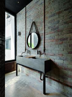 Industrial bathroom decor ideas vintage industrial bathroom design 4 decorating a studio apartment for two . Industrial Bathroom Design, Vintage Industrial Decor, Industrial Interiors, Bathroom Interior, Brick Bathroom, Bathroom Wall, Bathroom Lighting, Modern Bathroom, Full Bath