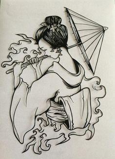 Geisha Girl Paper cut Template PDF by Designedforyoubyme on Etsy