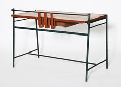Leather and Rattan Desk by Jacques Adnet 3