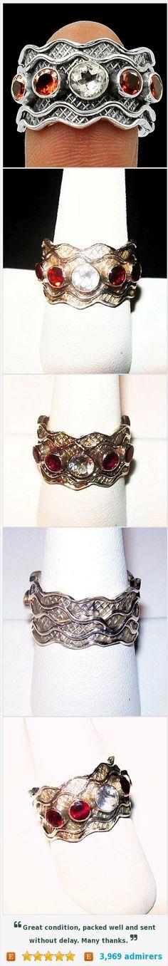 Genuine Red Garnet White Topaz Signed 925 Sterling Silver Band Ring Sz 8 NOS https://www.etsy.com/listing/455377084/