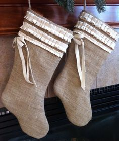 Burlap Christmas Stocking by PeekaAndBean on Etsy, $24.00 Burlap Christmas Stockings, Burlap Stockings, Holiday Ideas, Holiday Decor, Christmas Time, Magic, Decorations, Trending Outfits, Unique Jewelry