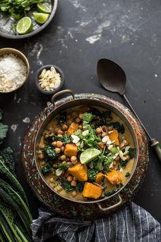 Chickpea And Coconut Korma Curry With Pumpkin - Cook Republic Can sub kabocha squash if pumpkin is out of season Indian Food Recipes, Vegetarian Recipes, Cooking Recipes, Healthy Recipes, Ethnic Recipes, Steak Recipes, Carrot Recipes, Cabbage Recipes, Spinach Recipes